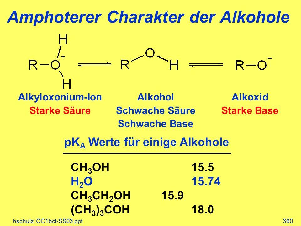 Amphoterer Charakter der Alkohole