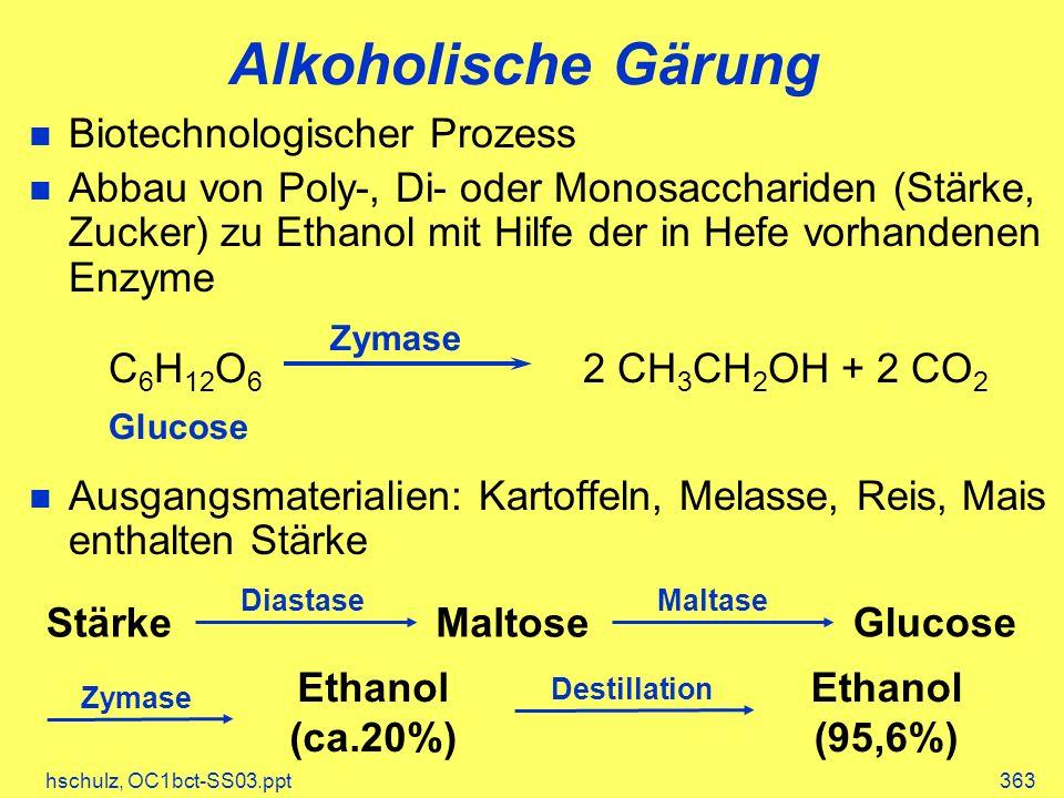 Alkoholische Gärung Biotechnologischer Prozess