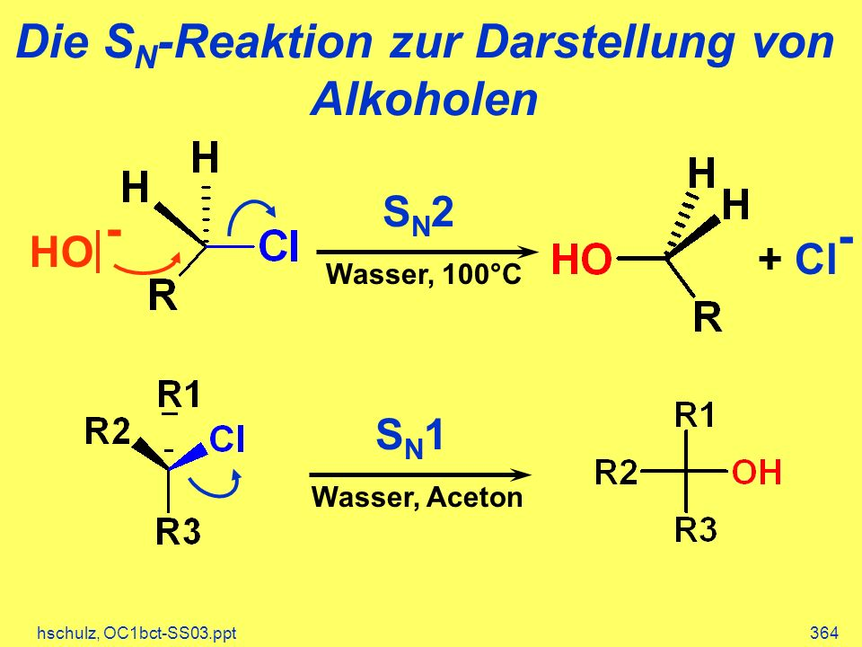 Die SN-Reaktion zur Darstellung von Alkoholen