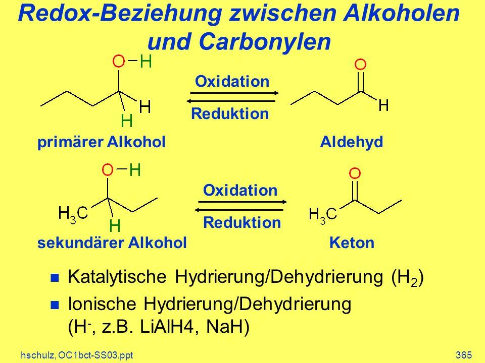 Redox-Beziehung zwischen Alkoholen und Carbonylen