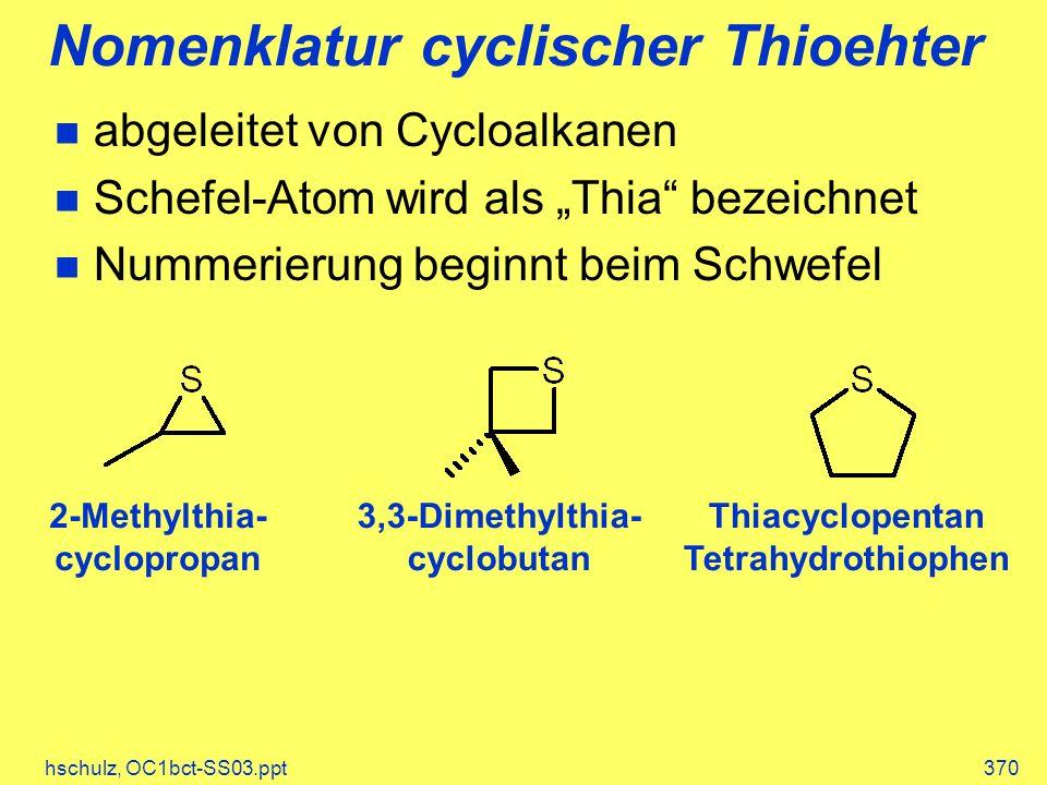 Nomenklatur cyclischer Thioehter