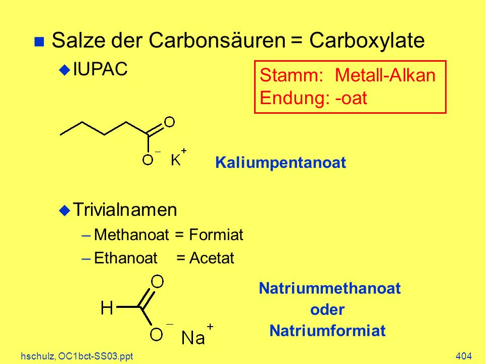 Salze der Carbonsäuren = Carboxylate