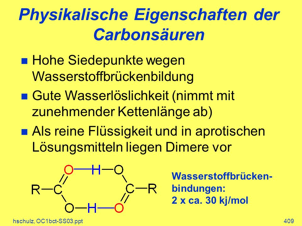 Physikalische Eigenschaften der Carbonsäuren