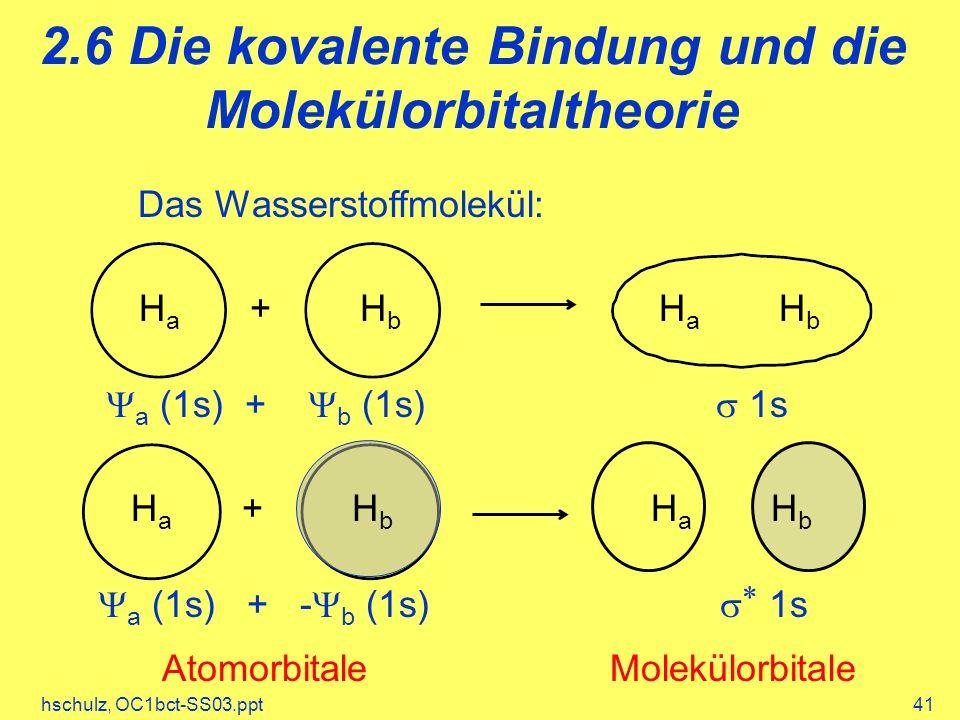 2.6 Die kovalente Bindung und die Molekülorbitaltheorie