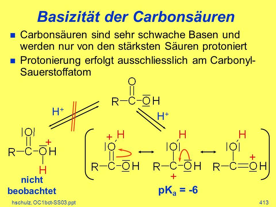 Basizität der Carbonsäuren
