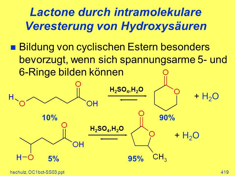 Lactone durch intramolekulare Veresterung von Hydroxysäuren