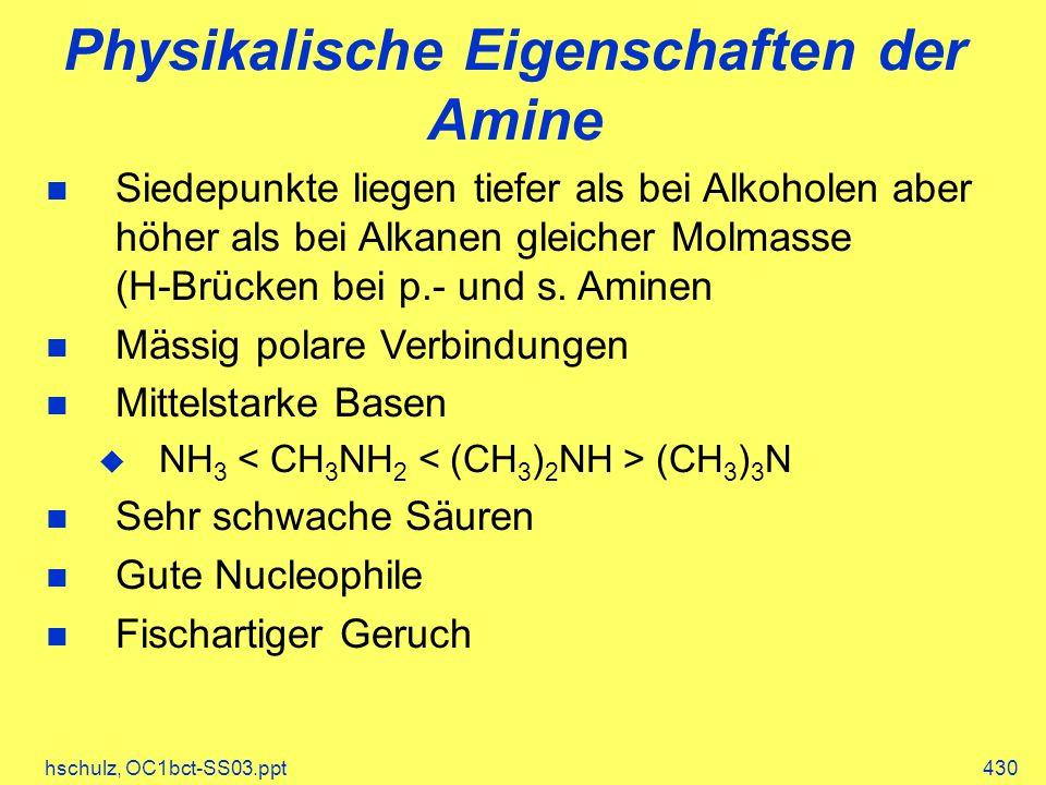 Physikalische Eigenschaften der Amine