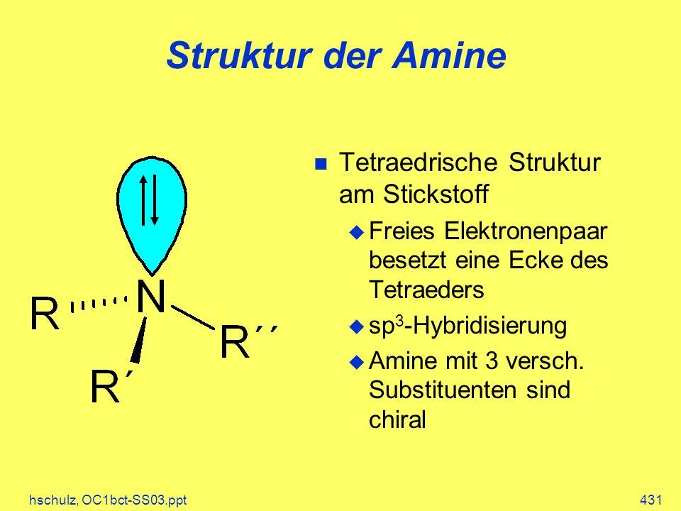 Struktur der Amine Tetraedrische Struktur am Stickstoff