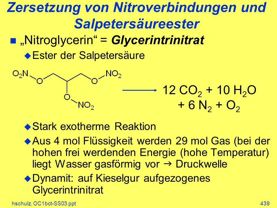 Zersetzung von Nitroverbindungen und Salpetersäureester
