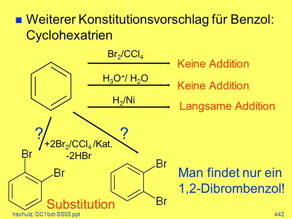Weiterer Konstitutionsvorschlag für Benzol: Cyclohexatrien