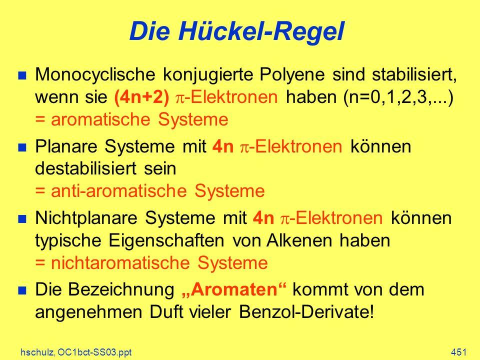 Die Hückel-Regel Monocyclische konjugierte Polyene sind stabilisiert, wenn sie (4n+2) p-Elektronen haben (n=0,1,2,3,...) = aromatische Systeme.