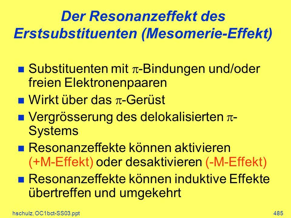Der Resonanzeffekt des Erstsubstituenten (Mesomerie-Effekt)