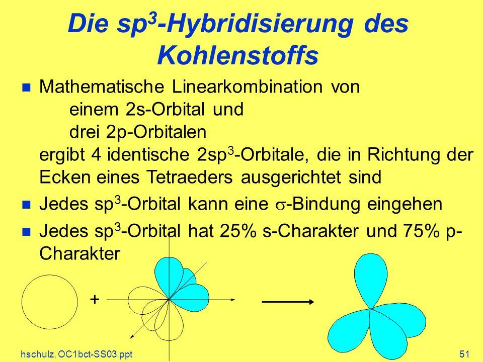 Die sp3-Hybridisierung des Kohlenstoffs
