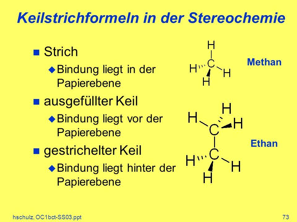 Keilstrichformeln in der Stereochemie