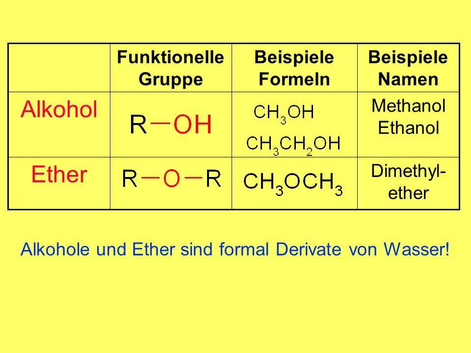 Alkohol Ether Beispiele Formeln Dimethyl-ether Methanol Ethanol