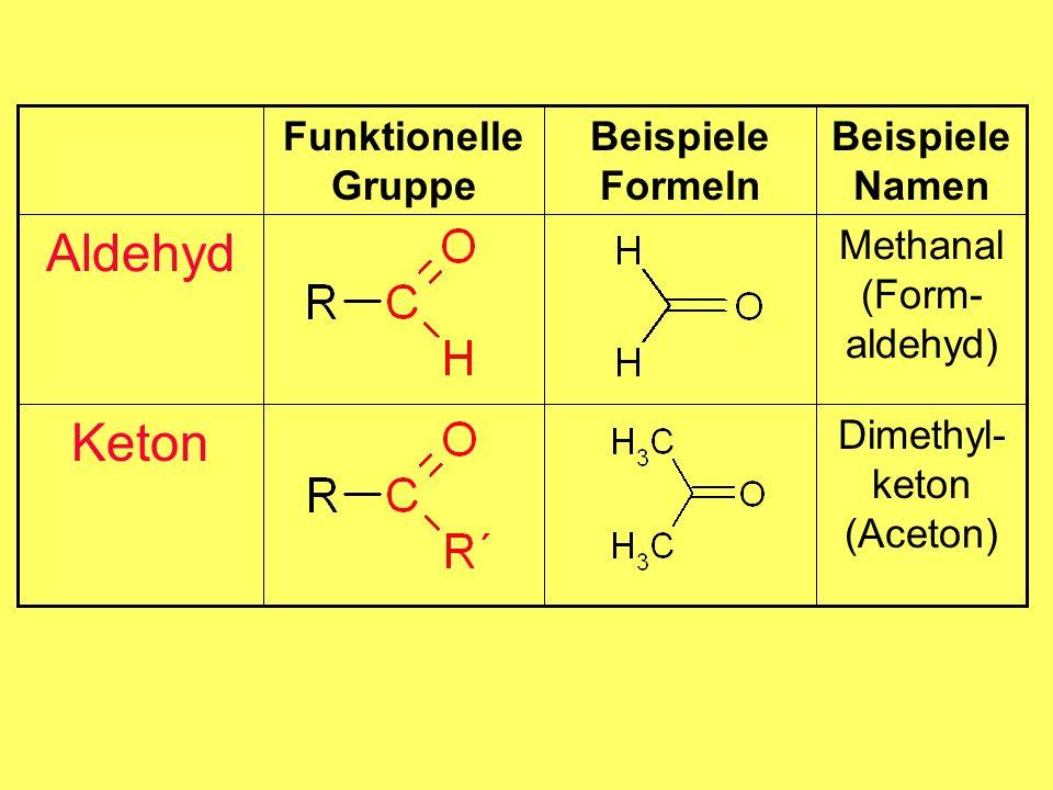 Aldehyd Keton Beispiele Formeln Dimethyl-keton (Aceton)