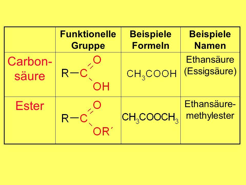Carbon-säure Ester Beispiele Formeln Ethansäure-methylester
