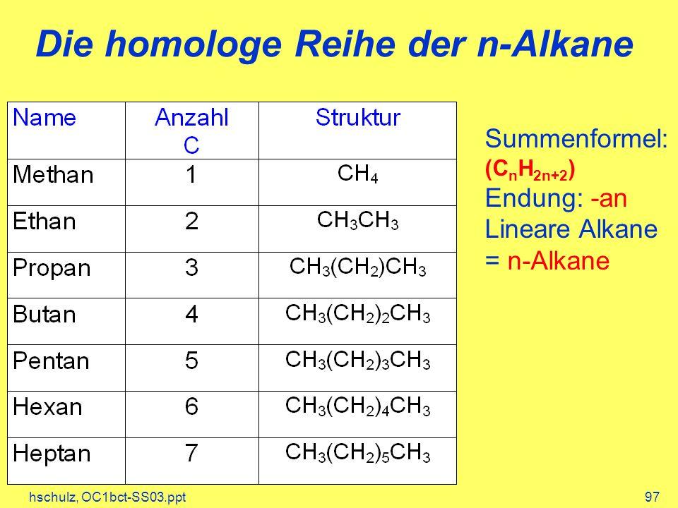 Die homologe Reihe der n-Alkane