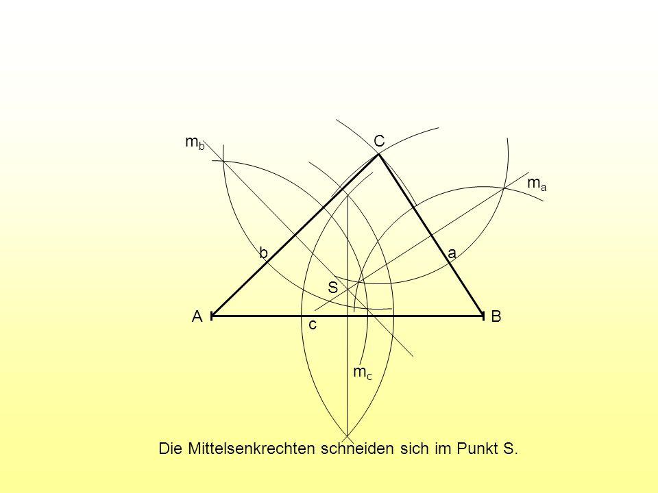 A B C c a b mc ma mb S Die Mittelsenkrechten schneiden sich im Punkt S.