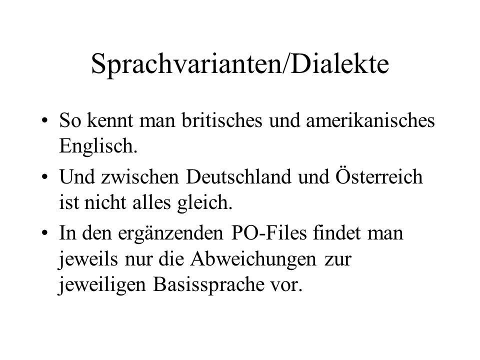 Sprachvarianten/Dialekte