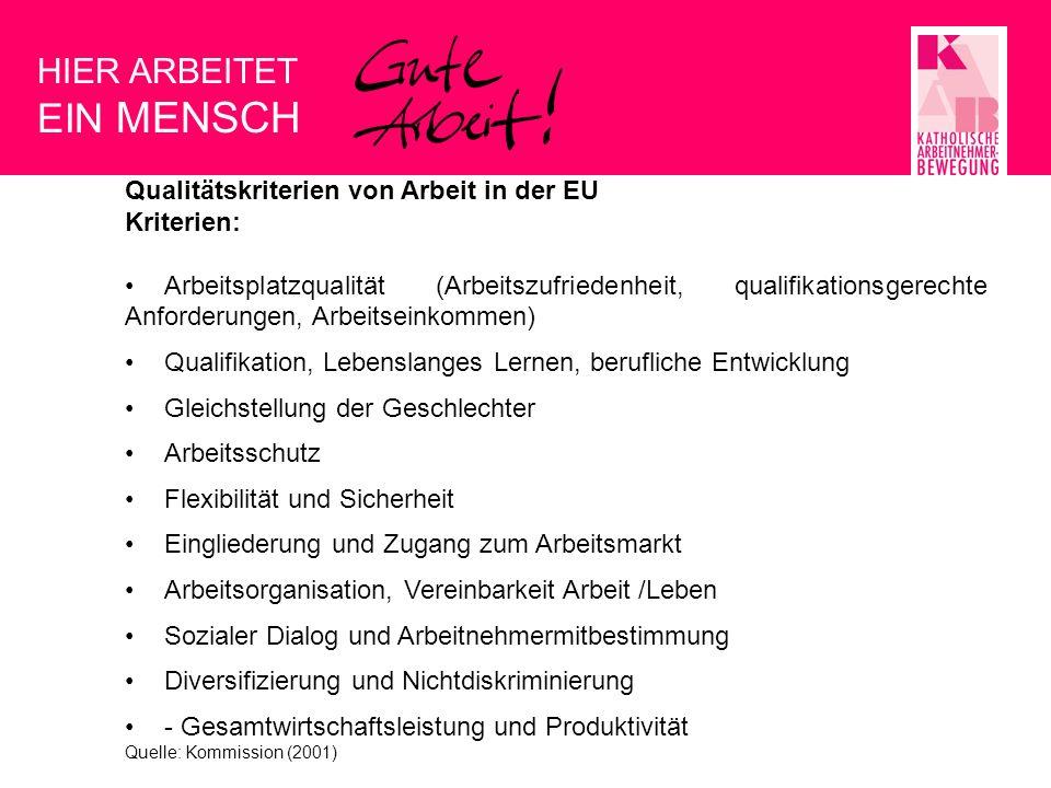 EIN MENSCH HIER ARBEITET Qualitätskriterien von Arbeit in der EU
