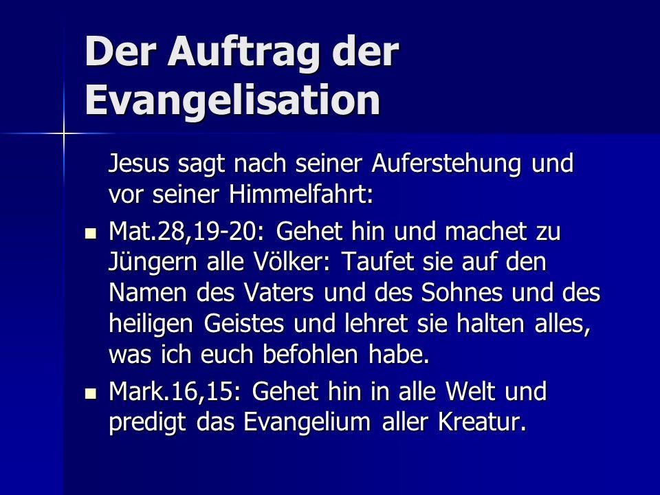 Der Auftrag der Evangelisation