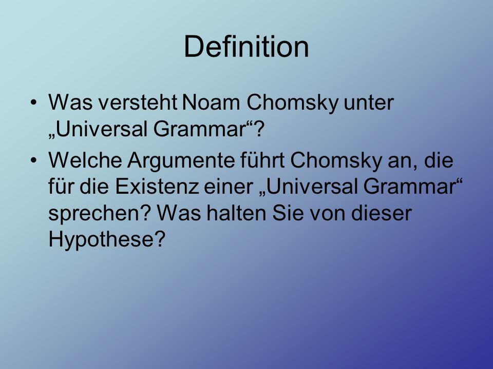 """Definition Was versteht Noam Chomsky unter """"Universal Grammar"""
