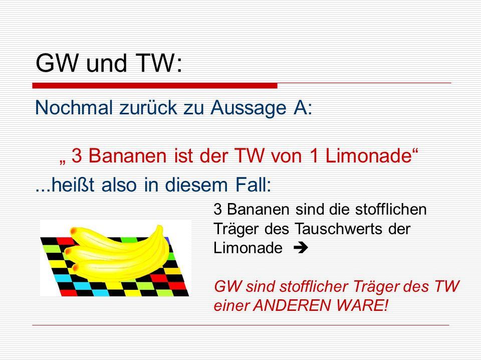 """GW und TW: Nochmal zurück zu Aussage A: """" 3 Bananen ist der TW von 1 Limonade ...heißt also in diesem Fall:"""