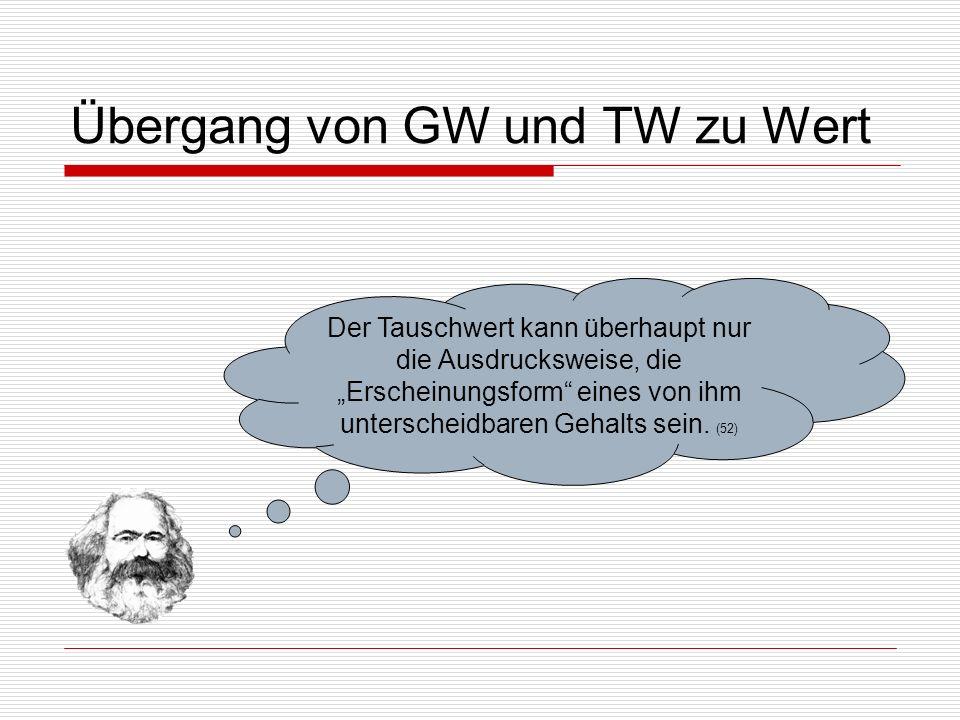 Übergang von GW und TW zu Wert
