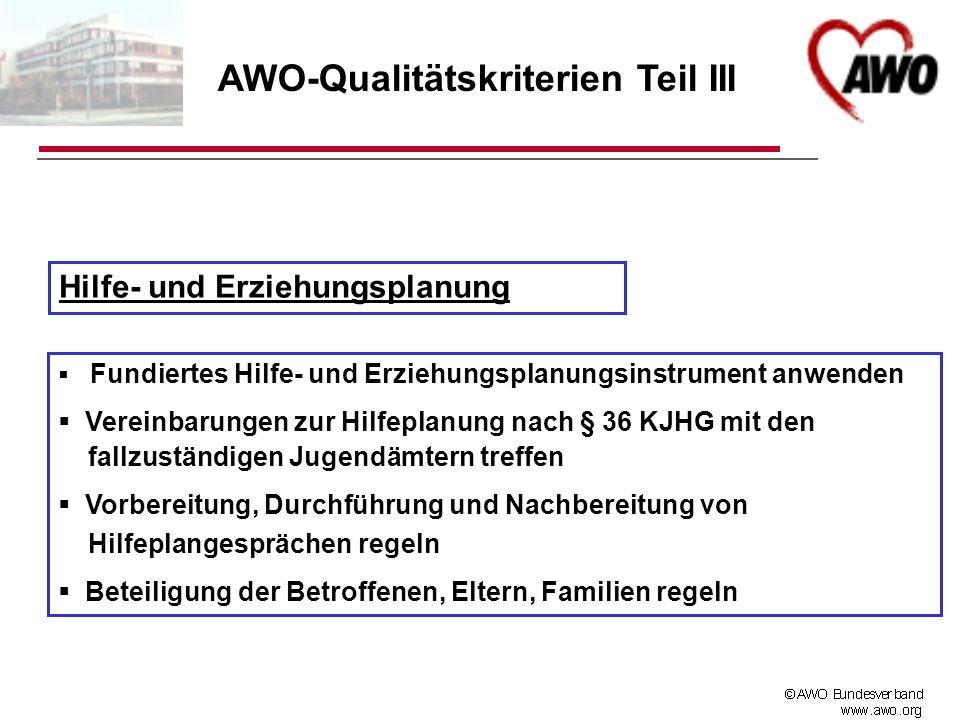 AWO-Qualitätskriterien Teil III
