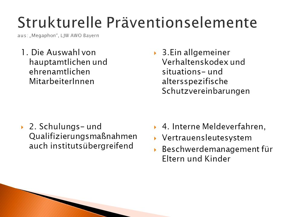 "Strukturelle Präventionselemente aus: ""Megaphon , LJW AWO Bayern"