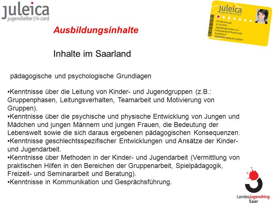 Ausbildungsinhalte Inhalte im Saarland