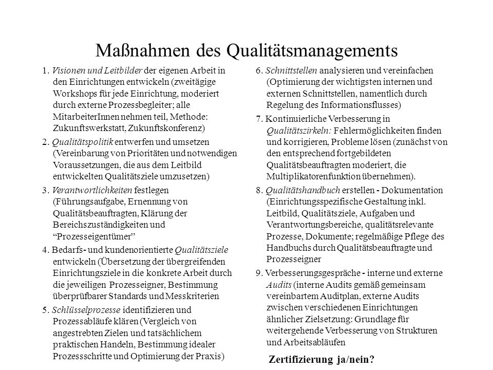 Maßnahmen des Qualitätsmanagements