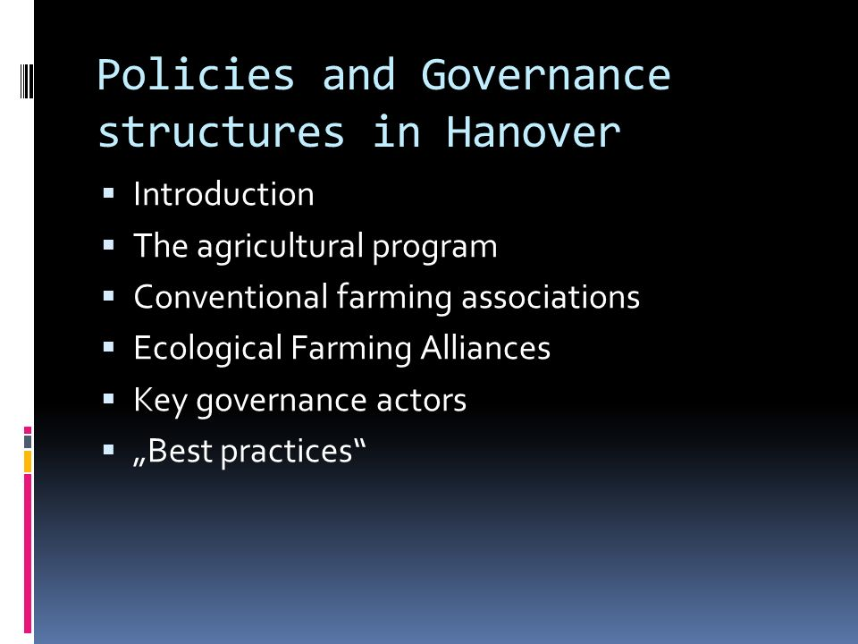 Policies and Governance structures in Hanover