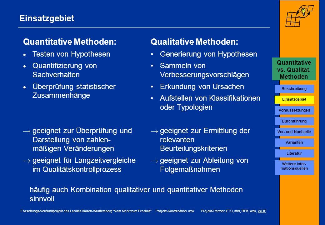 Quantitative vs. Qualitat. Methoden Weitere Infor-mationsquellen