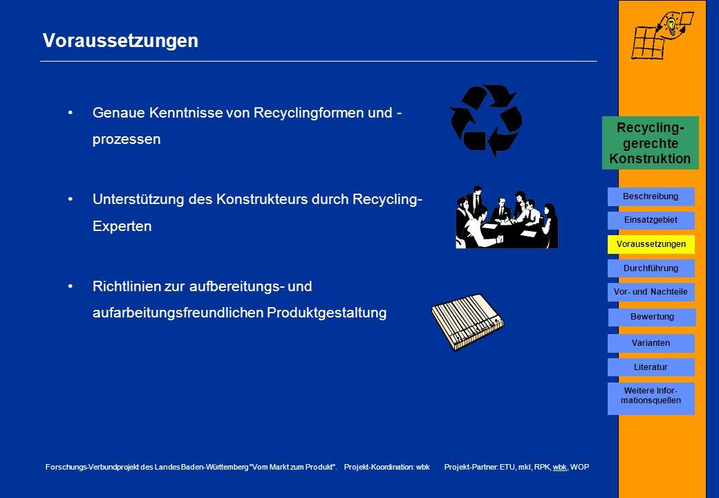 Recycling-gerechte Konstruktion Weitere Infor-mationsquellen