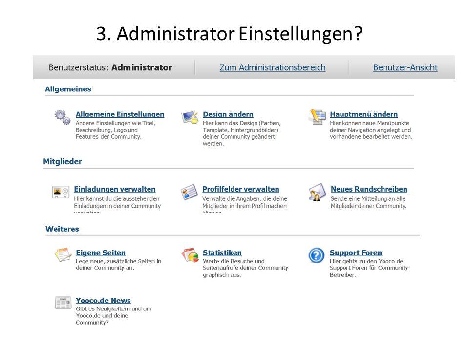 3. Administrator Einstellungen