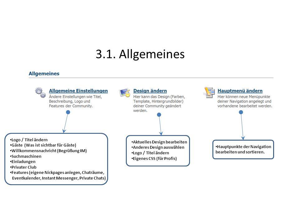 3.1. Allgemeines Logo / Titel ändern Aktuelles Design bearbeiten