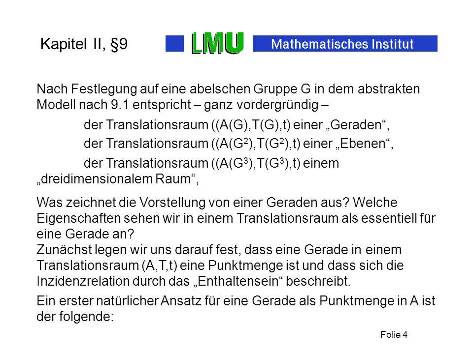 Kapitel II, §9 Nach Festlegung auf eine abelschen Gruppe G in dem abstrakten Modell nach 9.1 entspricht – ganz vordergründig –