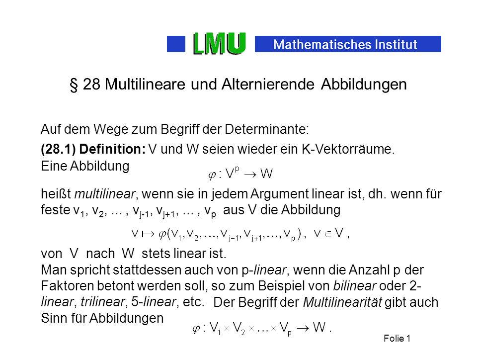 § 28 Multilineare und Alternierende Abbildungen