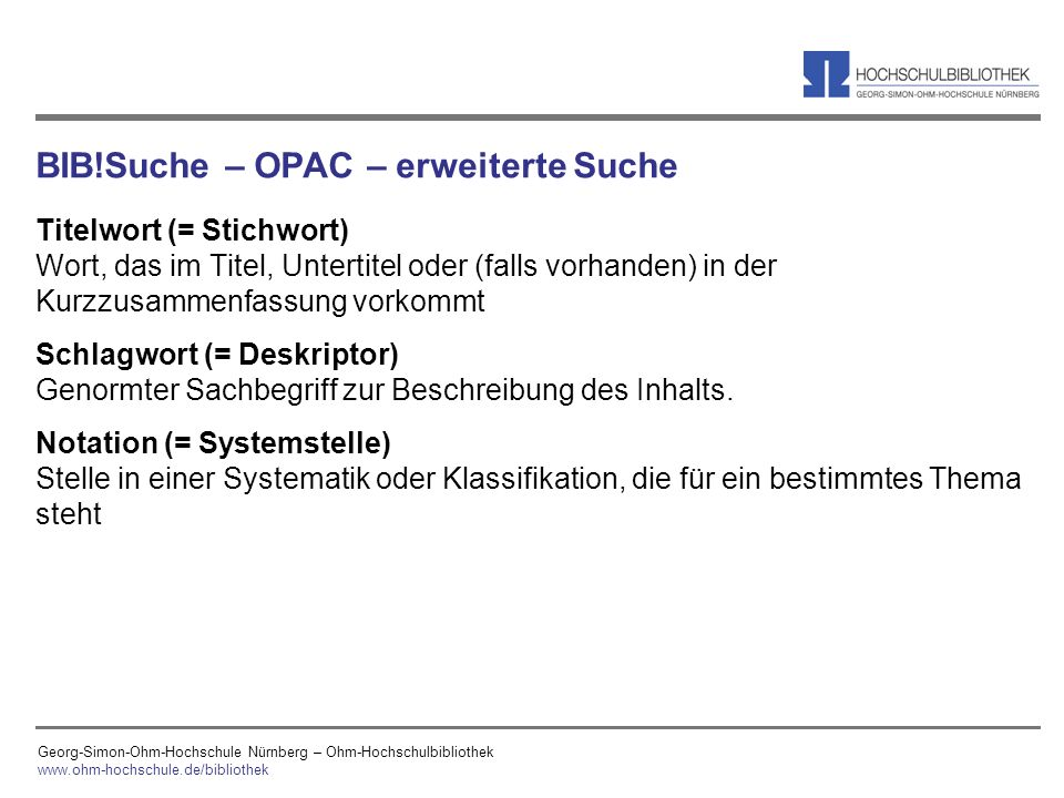 BIB!Suche – OPAC – erweiterte Suche