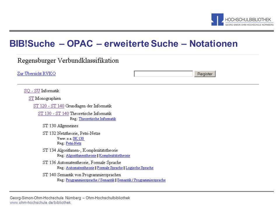 BIB!Suche – OPAC – erweiterte Suche – Notationen