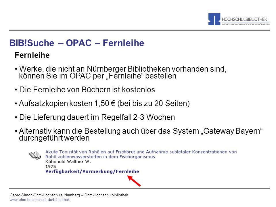 BIB!Suche – OPAC – Fernleihe