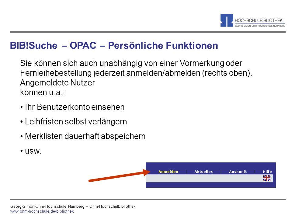 BIB!Suche – OPAC – Persönliche Funktionen