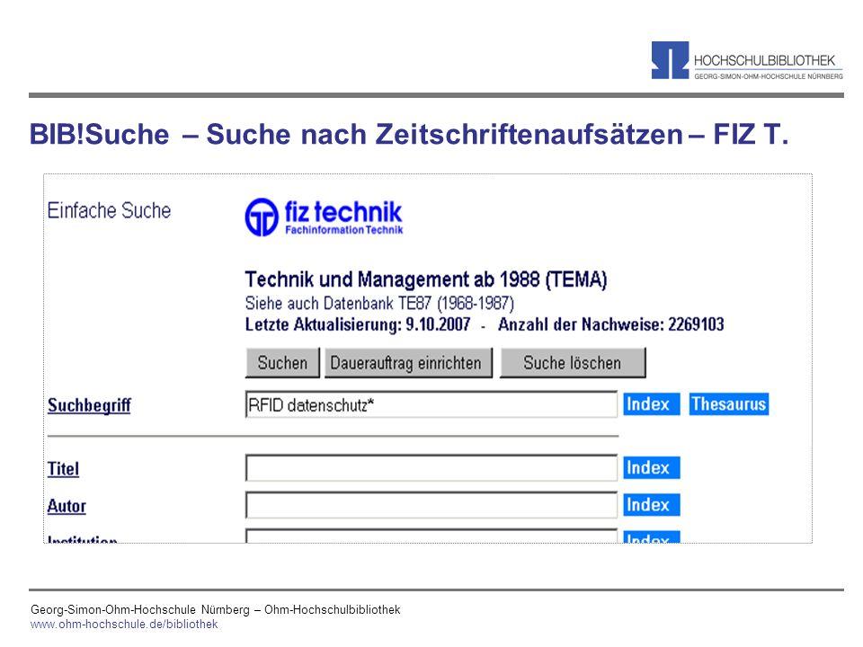 BIB!Suche – Suche nach Zeitschriftenaufsätzen – FIZ T.