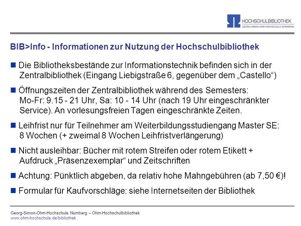BIB>Info - Informationen zur Nutzung der Hochschulbibliothek