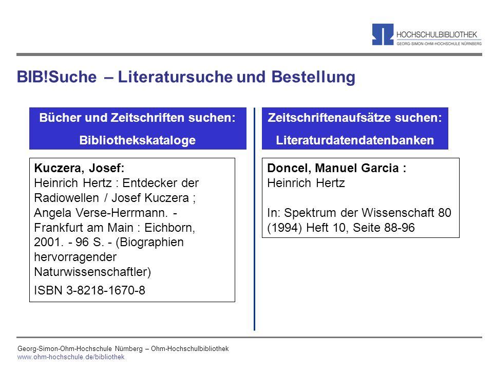 BIB!Suche – Literatursuche und Bestellung
