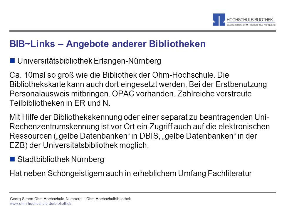 BIB~Links – Angebote anderer Bibliotheken