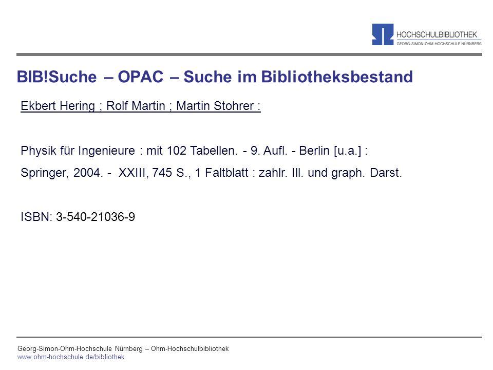 BIB!Suche – OPAC – Suche im Bibliotheksbestand