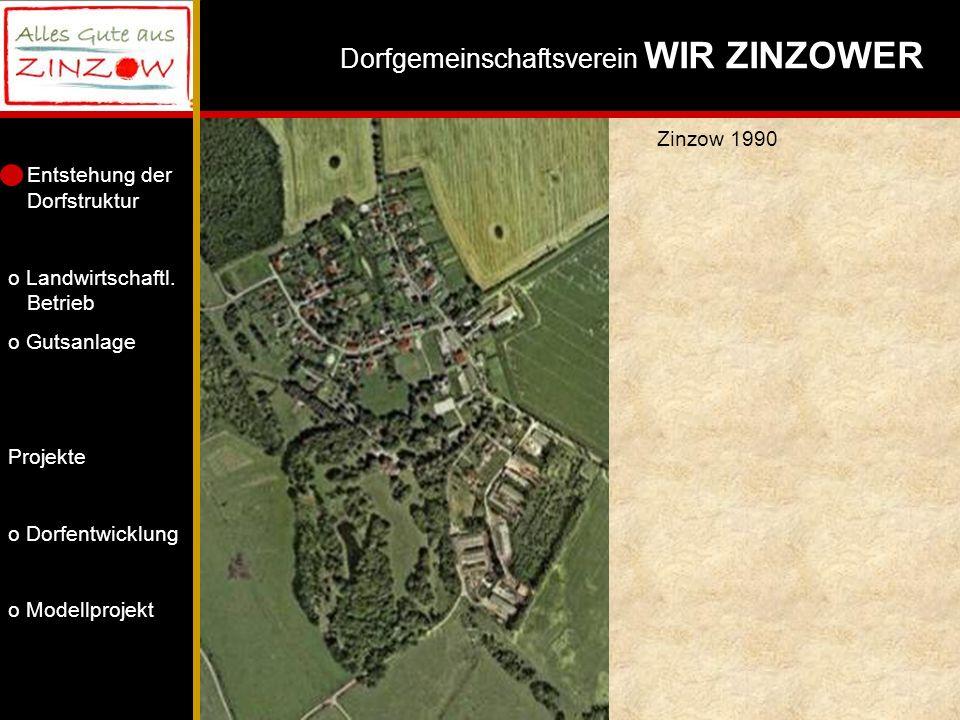 Zinzow 1990 Vergleich der Raumstrukturen: Park, gebogene Dorfstraße, Herrenhaus, Gutsanlage.